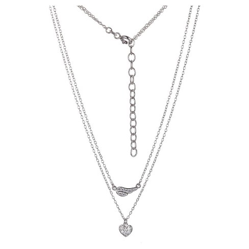 """Sterling Silver Heart and Wing CZ Layered Necklace with 16""""+2"""" Ext Chain - image 1 of 1"""