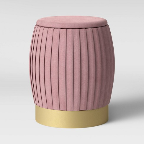 Sachsia Pleated Velvet Ottoman with Brass Base Blush Pink - Opalhouse™ - image 1 of 4