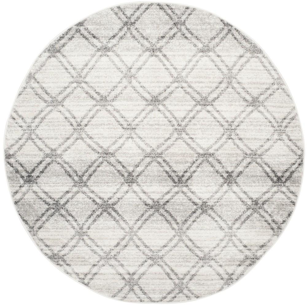 4' Geometric Round Area Rug Silver/Charcoal - Safavieh, Gray Silver