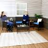 Dunmore 4pc Rattan Outdoor Conversation Set - Mixed Brown Rattan and Blue Cushions - Sunnydaze Decor - image 2 of 4