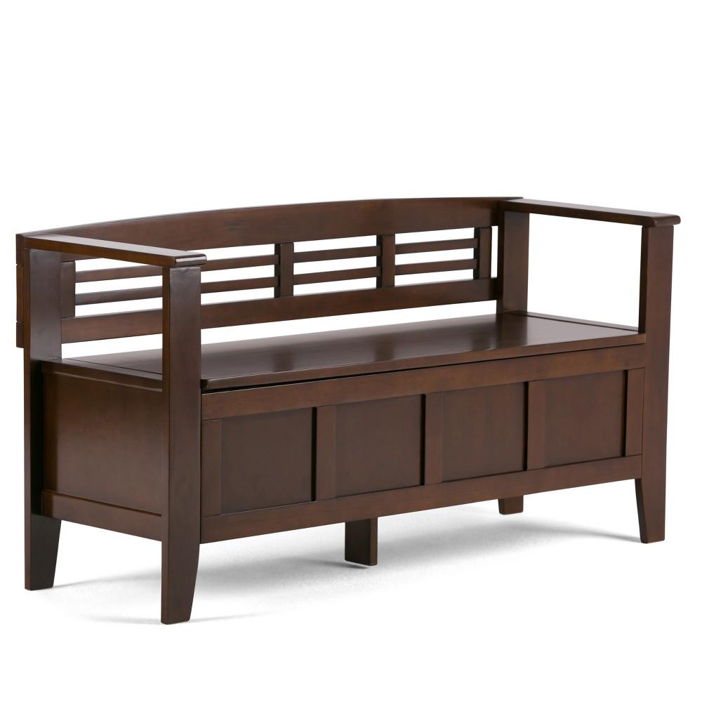 48 Chandler Solid Wood Entryway Storage Bench Rustic Medium Brown - Wyndenhall Promos