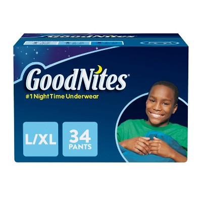 GoodNites Boys' NightTime Underwear - Size L/XL (34ct)