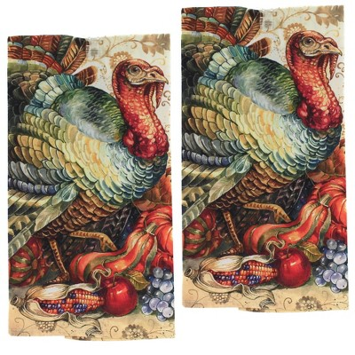 "Decorative Towel 28.0"" Traditional Turkey Towel Kitchen Thanksgiving  Corn  -  Kitchen Towel"