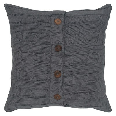 Gray Sweater Knit Throw Pillow Smoke 18 x18  - Rizzy Home®