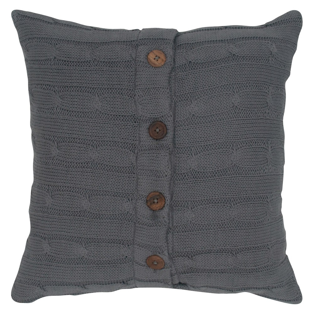 "Image of ""Gray Sweater Knit Throw Pillow Smoke 18""""x18"""" - Rizzy Home"""