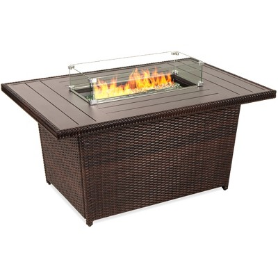 Best Choice Products 52in Wicker Propane Fire Pit Table 50,000 BTU w/ Glass Wind GuardTank HolderCover