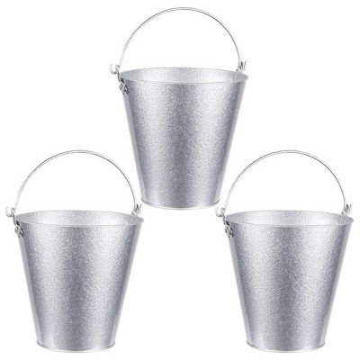 Juvale 3-Pack 7-inch Galvanized Decorative Metal Ice Bucket Pails for Beer, Drinks & Party Decorations