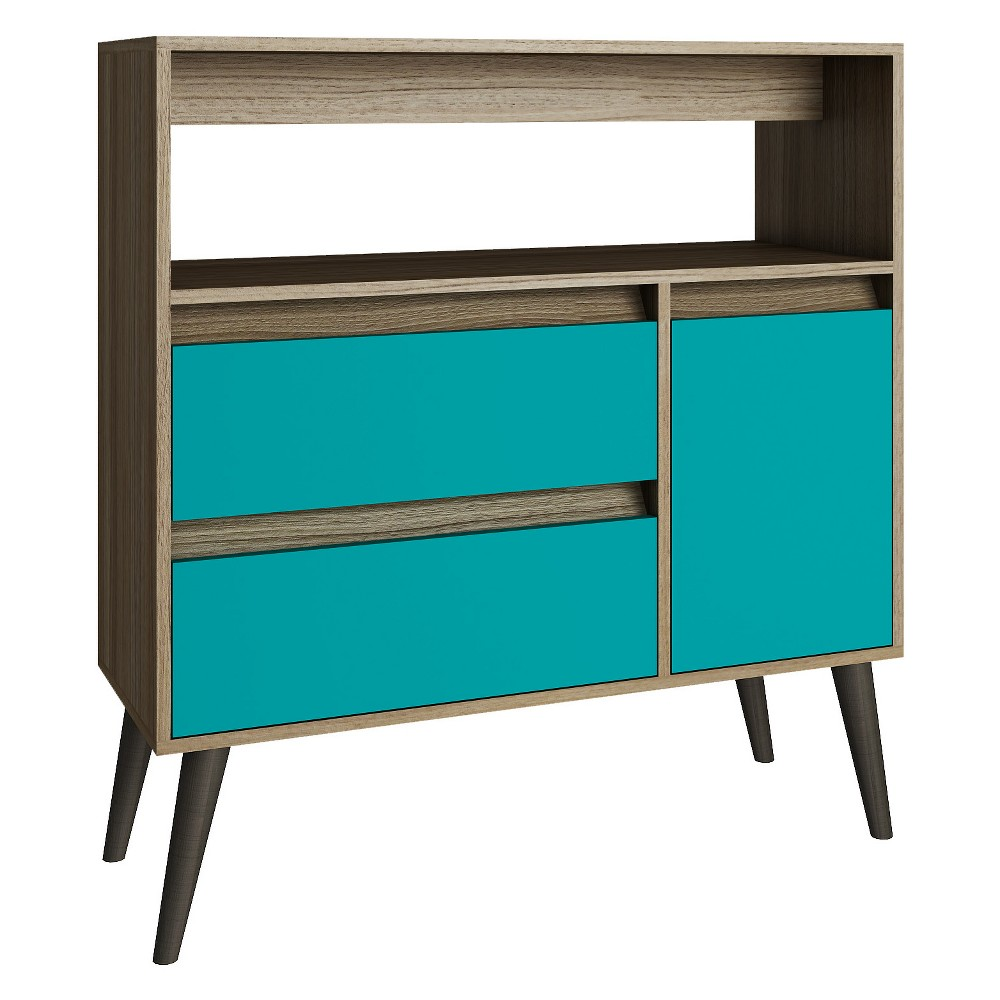 Gota High Side Table Oak Brown/Gray - Manhattan Comfort