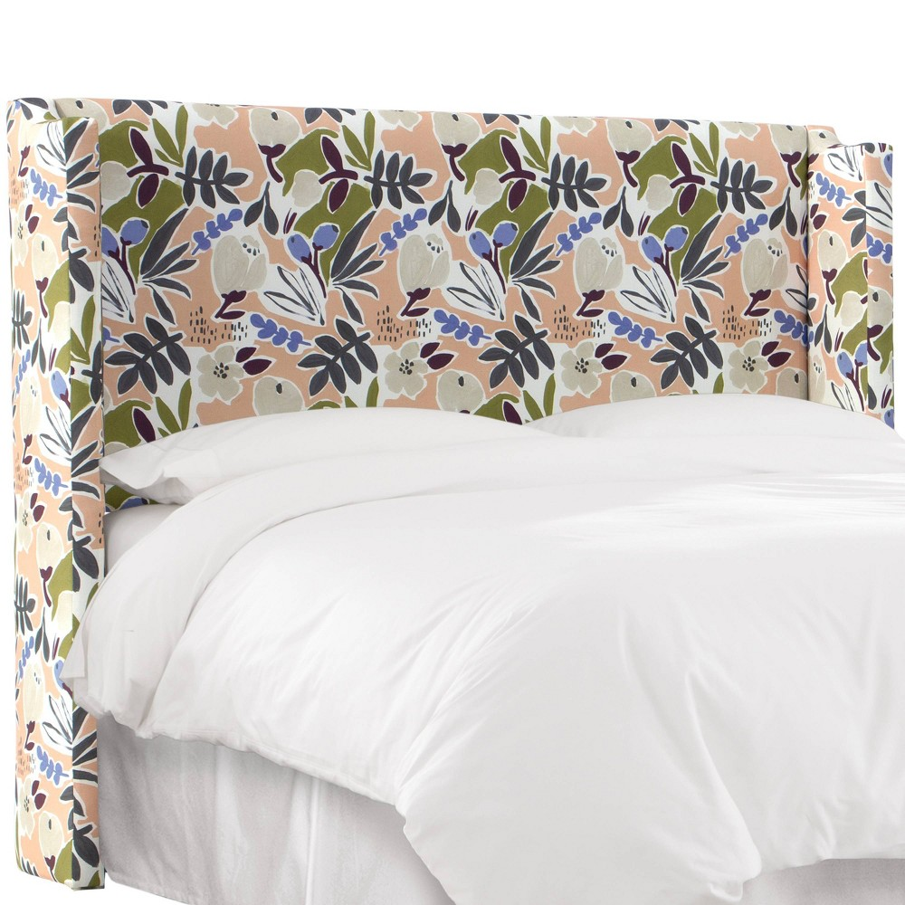 King Wingback Headboard in Parker Floral Blush Pink - Cloth & Co.