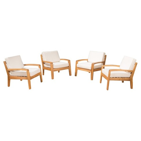 Grenada Set of 4 Wooden Club Chairs With Cushions - Christopher Knight Home - image 1 of 4