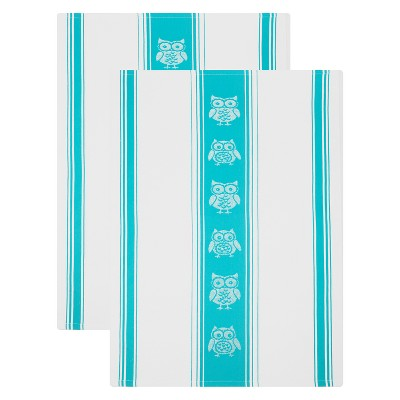 2pk Jacquard Cotton Towel Owly Blue - Mu Kitchen