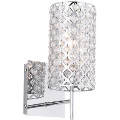 "Possini Euro Design Modern Wall Light Sconce Chrome Lattice Hardwired 12 1/2"" High Fixture Crystal for Bedroom Bathroom Hallway"