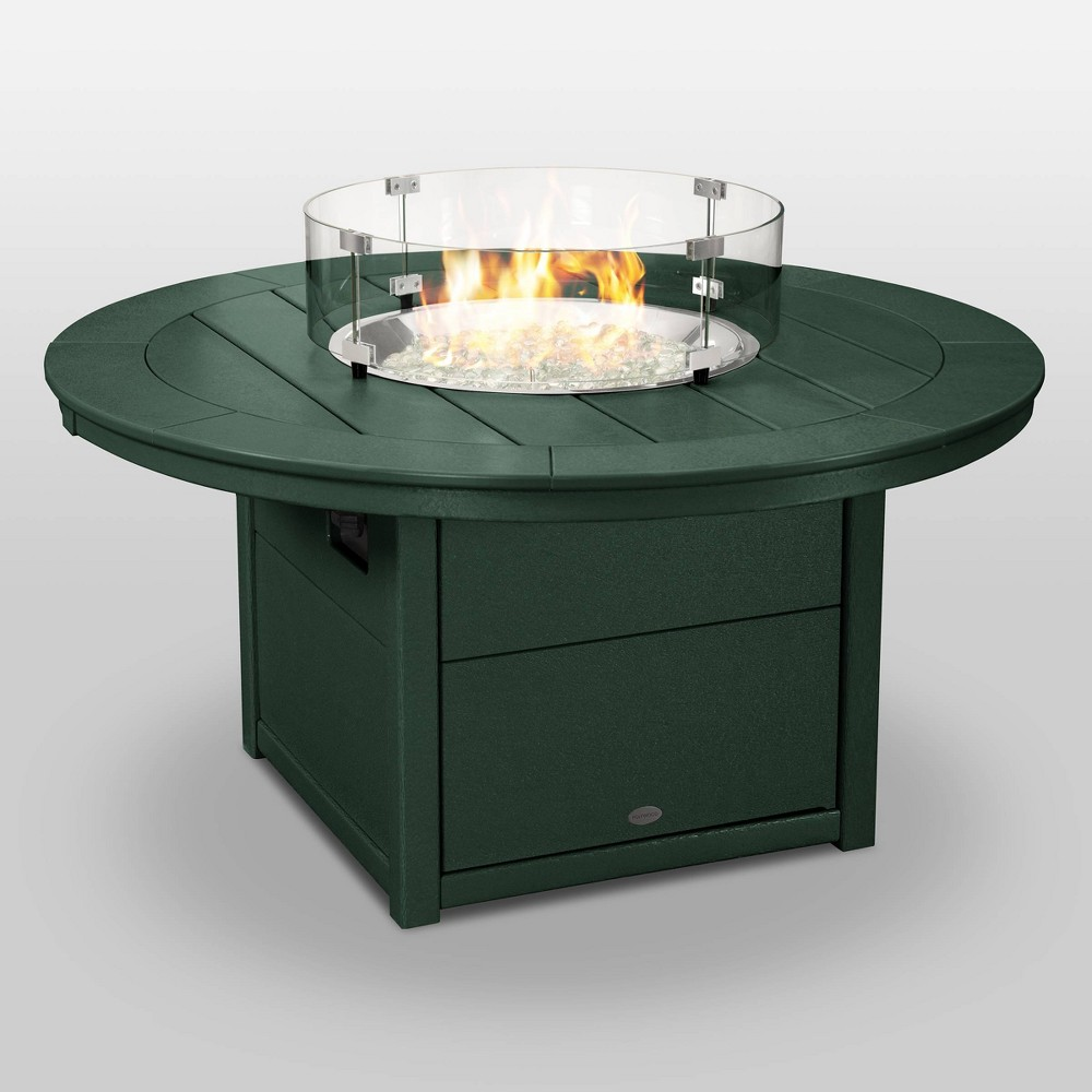 "Image of ""POLYWOOD Round 48"""" Outdoor Fire Pit Table - Green"""