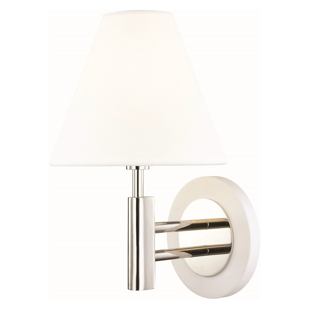 Image of Robbie 1-Light Wall Sconce Polished Brushed Nickel/White - Mitzi by Hudson Valley, Brushed Nickel/Black