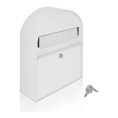 SereneLife SLMAB15 Home Indoor Outdoor Galvanized Steel Metal Wall Mount Secure Locking Mailbox Magazine Newspaper Holder with Keys, White