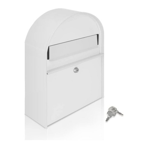 SereneLife SLMAB15 Home Indoor Outdoor Galvanized Steel Metal Wall Mount Secure Locking Mailbox Magazine Newspaper Holder with Keys, White - image 1 of 4