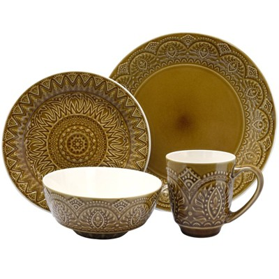 16pc Stoneware Mandala Embossed Dinnerware Set Taupe - Elama