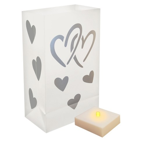6ct Lumabase LED Hearts Battery Operated Luminaria Kit with Timer - image 1 of 3