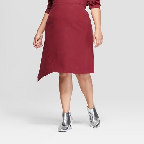 dd84d1d58d5 Women s Plus Size Comfort Waistband Asymmetrical Hem Midi Skirt - Ava    Viv™ Burgundy