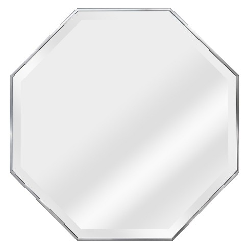 28 X 28 Tivoli Octagon Silver Framed Beveled Glass Decorative Wall