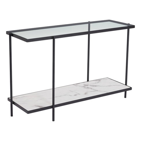"""46"""" Modern Faux Marble Console Table Matte Black - ZM Home - image 1 of 4"""