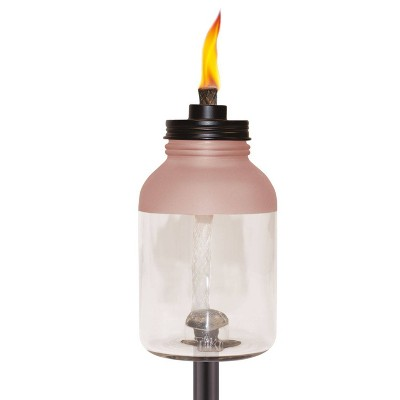 Frosted Glass Jar StepNStall Outdoor Torch - TIKI