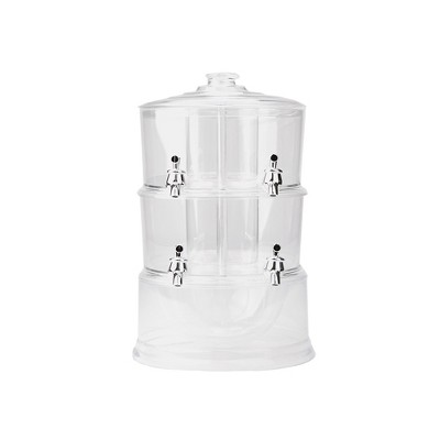Mind Reader 2 Tier Split Compartment Beverage Drink Dispenser with Spigot and Ice Bucket Bottom