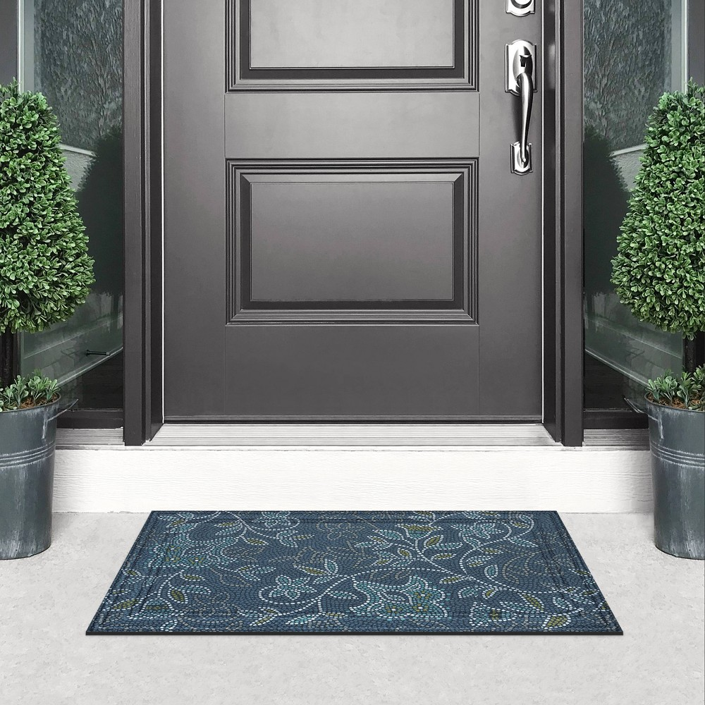 Image of 2'x3' Wyndham Weave Bellflower Mosaic Doormat Navy/Green - Apache Mills