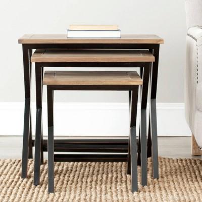 Marsha Accent Table Black/Oak - Safavieh : Target