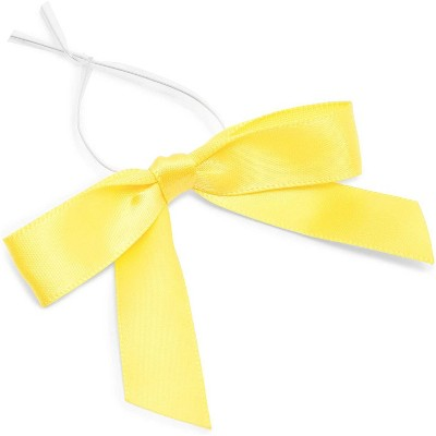 "Bright Creations 3"" Yellow Satin Bow Twist Ties with Clear Twist Ties for Treat Bags and Gift Package, 100 Pack"