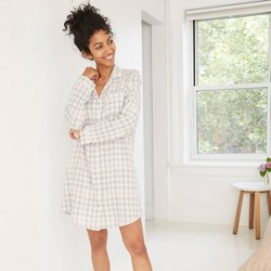 Women's Plaid Perfectly Cozy Flannel Long Sleeve Notch Collar Nightgown - Stars Above™