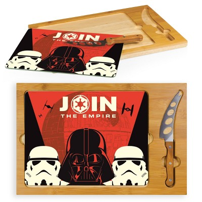 Star Wars Empire Icon Glass Top Serving Tray with Knife Set by Picnic Time
