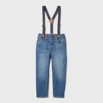OshKosh B'gosh Toddler Boys' Denim Suspender Chino Pants - Blue 12M