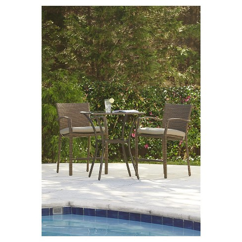 Lakewood Ranch 3 Piece Steel Woven Wicker Outdoor High Top Bistro Patio Furniture Set with Cushions - Brown - Cosco - image 1 of 7