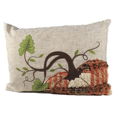"Home Decor 12.25"" Plaid Pumpkin Pillow Fall  -  Decorative Pillow"