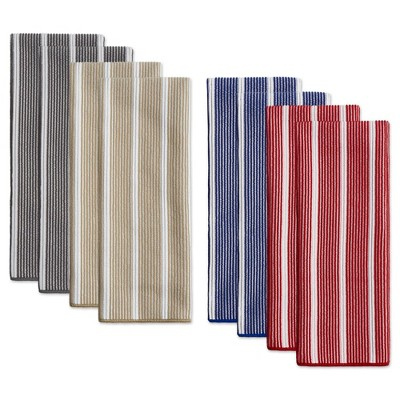8pk Rainbow Striped Kitchen Towels Navy/Beige/Gray - Town & Country Living