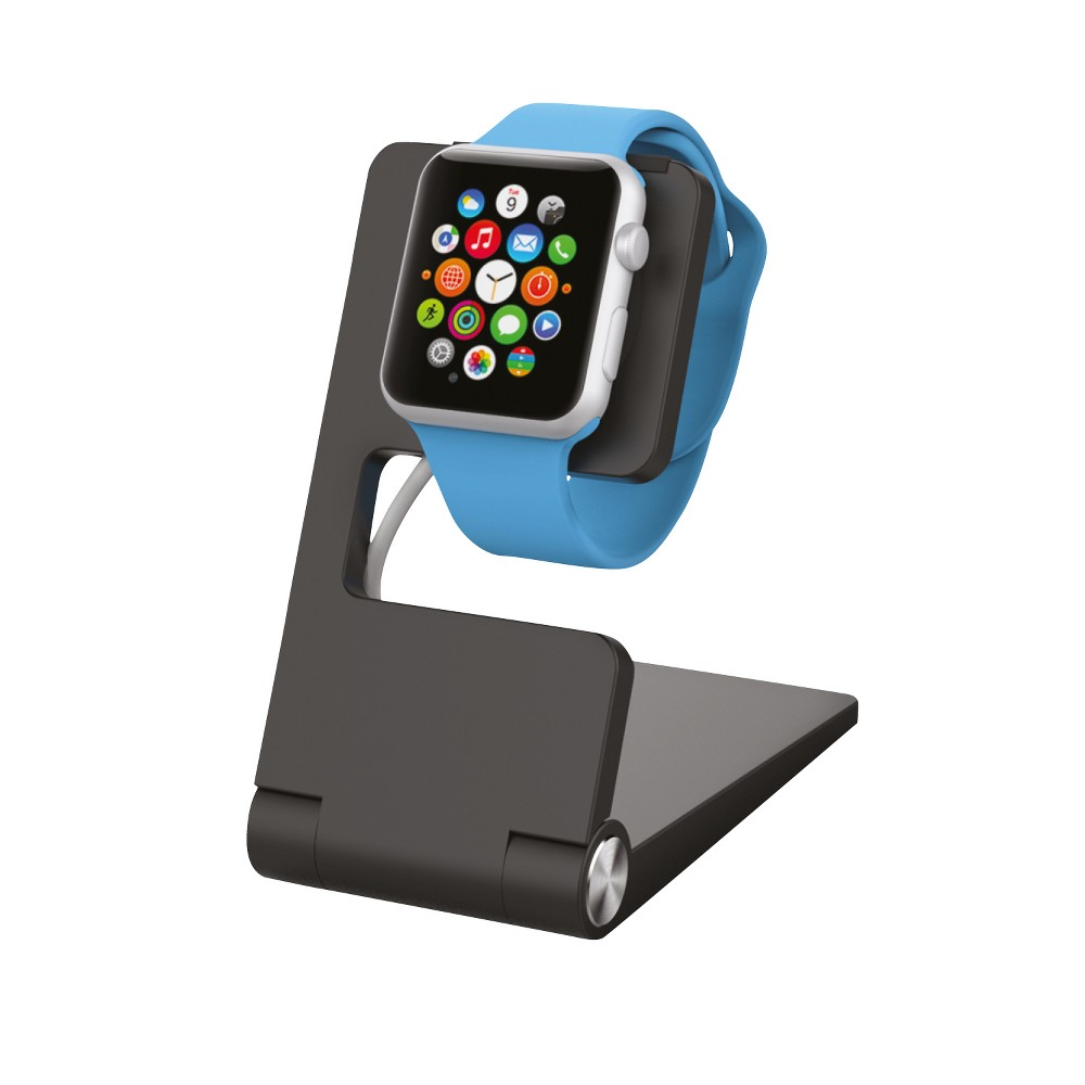 Kanex Apple Watch Stand, Black The Kanex Foldable Charging Stand was designed to conveniently charge and secure your Apple Watch when traveling. This durable aluminum stand has precision cutouts for the magnetic charger. It keeps your bedside table nice and organized while you charge. Simply place your charging cable in the stand and mount your Apple Watch. Folds down conveniently for travel. Color: Black. Gender: unisex.