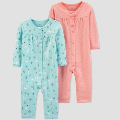 Baby Girls' 2pk Jumpsuits - Just One You® made by carter's Pink/Aqua 3M