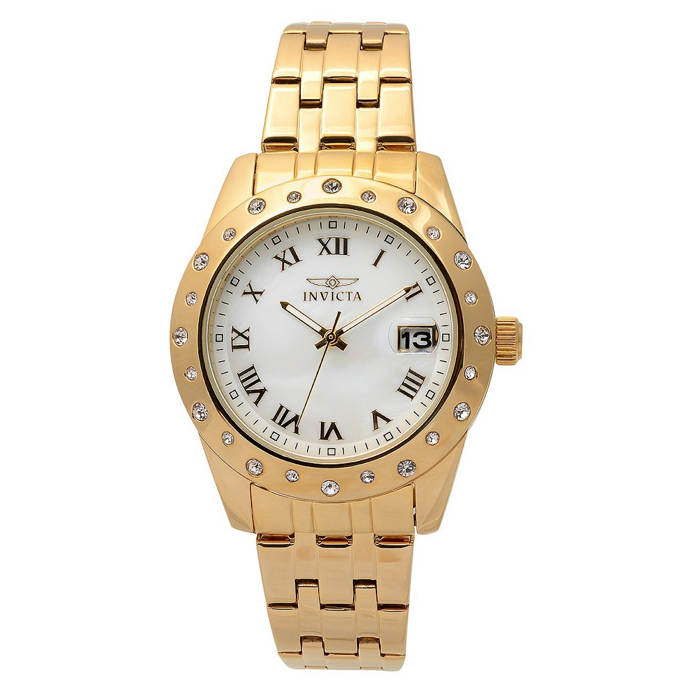Women's Invicta 17488 Stainless Steel 'Angel' Link Watch - Gold