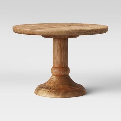 """10"""" x 7.5"""" Turned Wood Serving Pedestal Natural - Threshold™"""