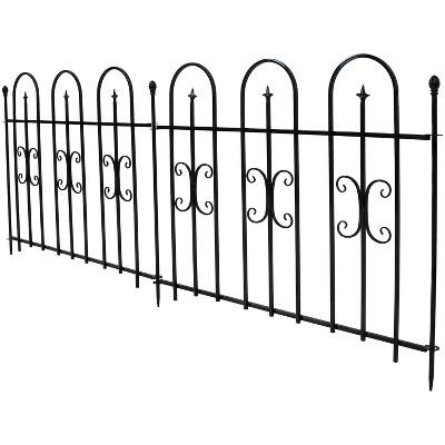 Sunnydaze Outdoor Lawn and Garden Metal Finial Topped Decorative Border Fence Panel Set - 8' - Black - 2pk