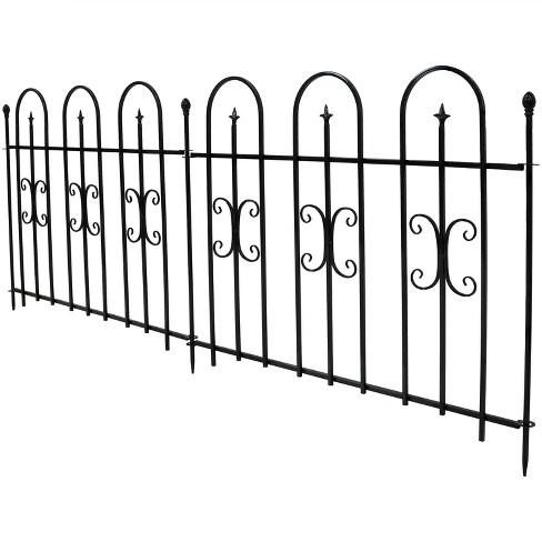 "38"" x 8' Decorative Finial Border Fence 2pc - Black - Sunnydaze Decor - image 1 of 4"