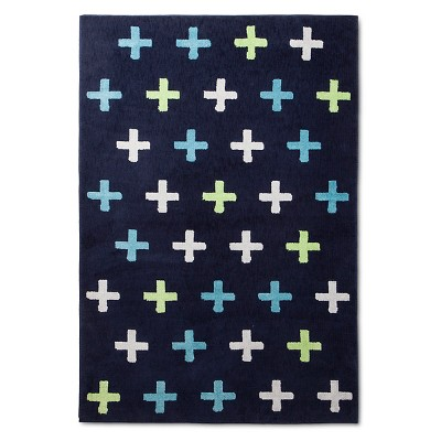 Plus Sign Area Rug (4'x6')Navy - Pillowfort™