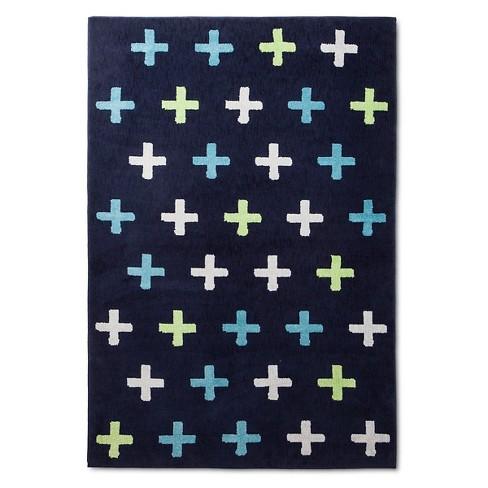Plus Sign Area Rug 4 X6 Navy Pillowfort