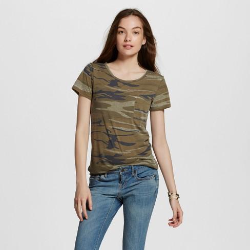 Women's Short Sleeve Camo Print Graphic T-Shirt - Zoe+Liv (Juniors') Green - image 1 of 2