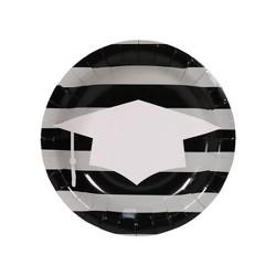 30ct Graduation Snack Plates White/Black - Spritz™