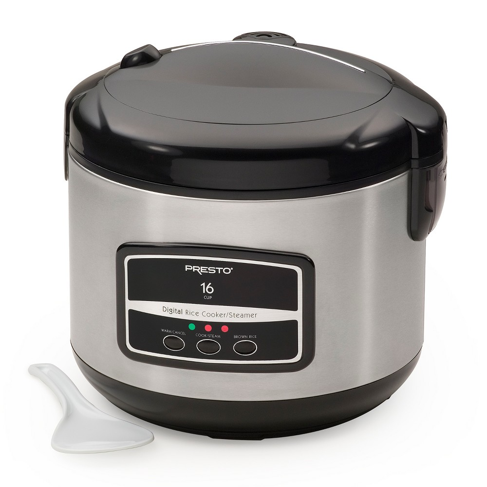 Presto 16 Cup Digital Rice Cooker - 5813, Silver This easy-to-use rice cooker makes 4 to 16 cups of white or brown rice and keeps it serving hot for hours. Digital push button controls with indicator lights offer cook and keep-warm functions, as well as a separate setting for brown rice. It automatically switches to keep-warm mode when cooking time is complete. Use the special steaming basket to conveniently steam vegetables while cooking rice at the same time. Features a stainless steel exterior and hinged cover with removable steam vent and carrying handle. Nonstick pot removes for easy serving and cleaning. Includes measuring scoop and rice paddle Color: Silver.
