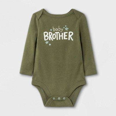 Baby Boys' Baby Brother' Long Sleeve Bodysuit - Cat & Jack™ Olive Green 0-3M