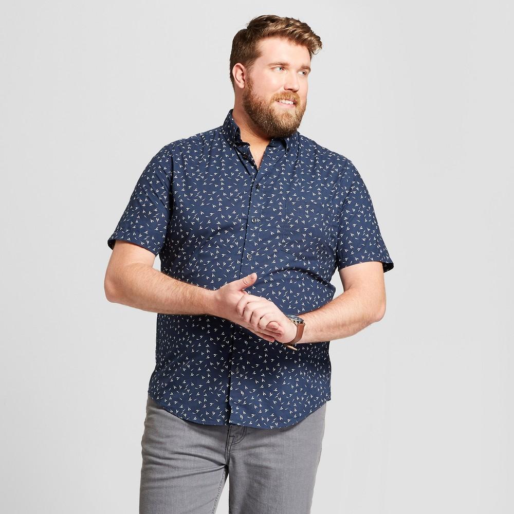 Men's Big & Tall Floral Print Standard Fit Short Sleeve Button-Down Shirt - Goodfellow & Co True Navy 3XBT