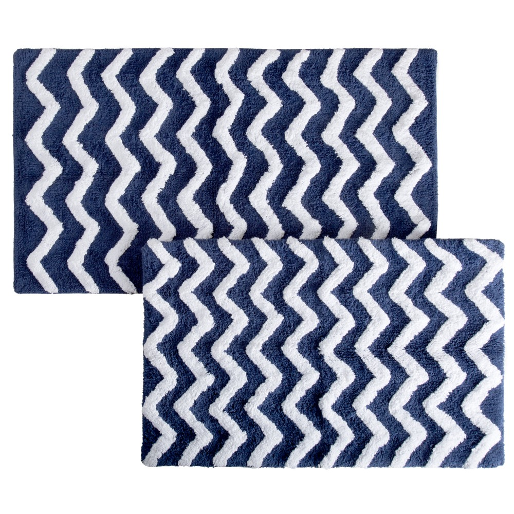 Image of 2pc Chevron Bathroom Mat Set Navy - Yorkshire Home